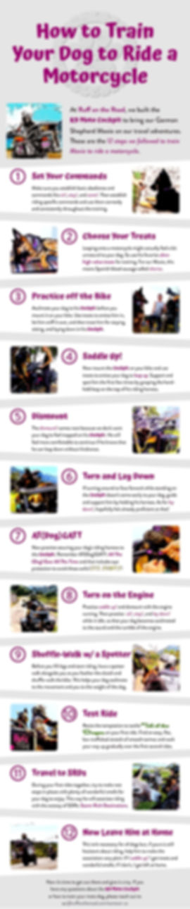 Colorful infographic describing 12 steps to train a dog to ride in a motorcyle dog carrier