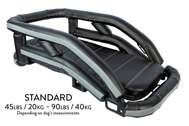 : K9 Moto Cockpit motorcycle dog carrier in standard size for dogs between 45 – 90 lbs, depending on the dog's measurements