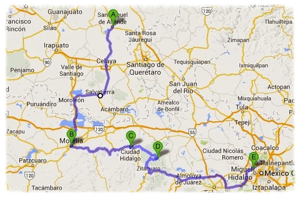 Day 82-90 Route: A) San Miguel de Allende, B) Morelia, C) Ciudad Hidalgo, D) Angangeo, E) Naucalpán de Juarez