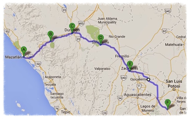 Day 53-56 route: A) Mazatlán, B) Mexiquillo, C) Durango, D) Sombrerete, E) Zacatecas, F) San Felipe