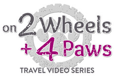 Logo for 'on 2 Wheels + 4 Paws' travel video series by Ruffly