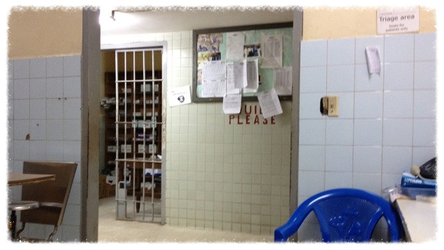 The Emergency Department pharmacy is behind the bars