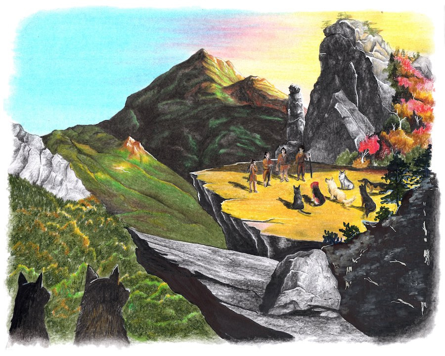 dogs watch mountain scene with ancient people and dogs