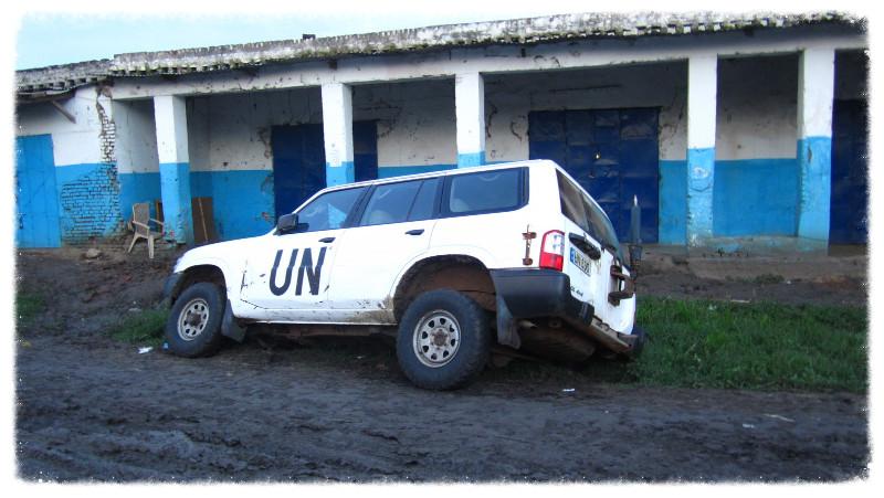 UN vehicle fallen into ditch