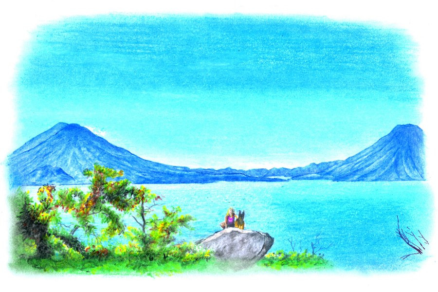drawing of a woman and dog sitting on a rock over a lake surrounded by volcanoes