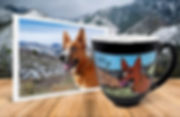 Dog in snowy hills photo beside personalized, engraved, hand-painted coffee mug