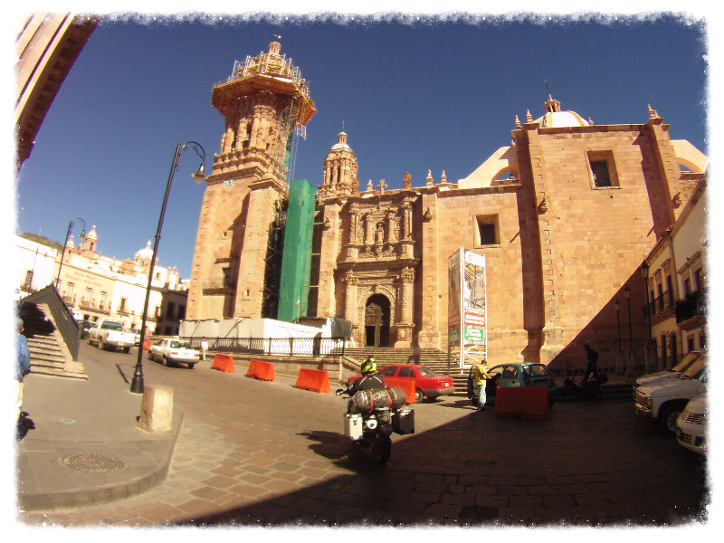 I ride past the cathedral in Zacatecas