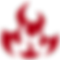 Simple icon of fire flames in red