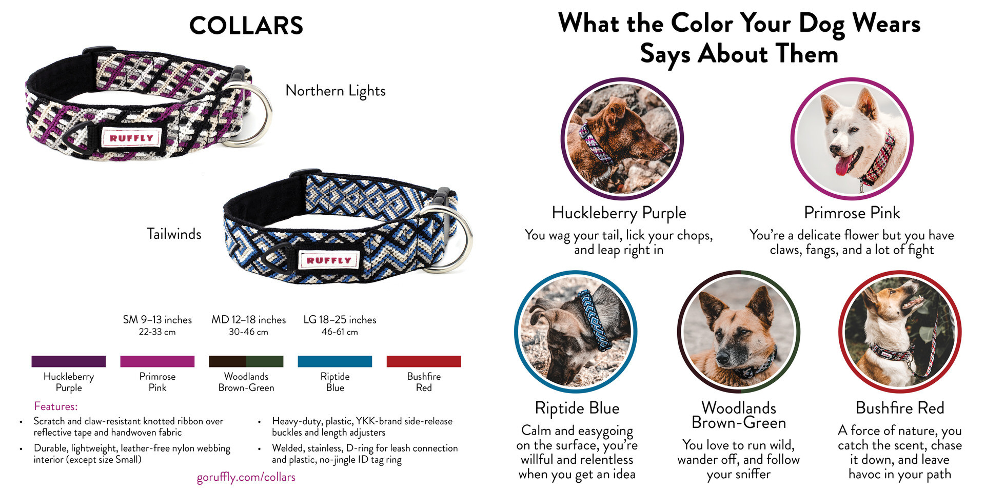RUFFLY Lookbook – Pages 4 and 5 – Knotted Collars and About the Five Colors