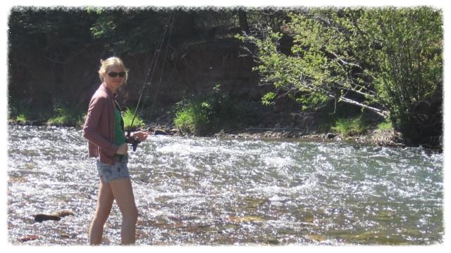 Jessica fishes at San Juan River