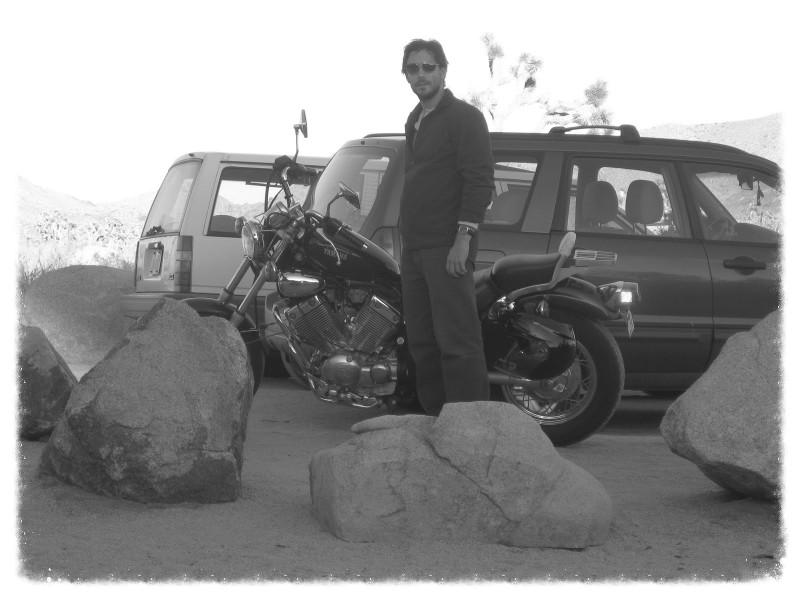 Greg and bike at Joshua Tree National Park campsite