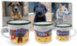 Custom artwork from dog photo colorfully printed on 12oz enamel camping coffee mug