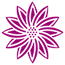 Stylized icon of a pink flower