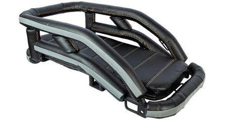 K9 Moto Cockpit motorcycle dog carrier for large and medium dogs features vinyl upholstery, reflective ribbon, and seat cushion