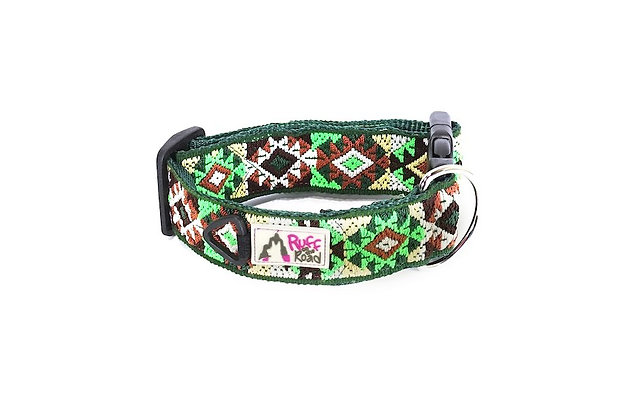 Large, handmade dog collar in diamonds and triangle patterns and jungle colors