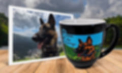 Portrait photo of German Shepherd dog beside engraved, hand-painted mug with same image