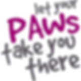 Stylized let your paws take you there logo