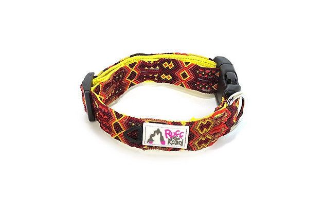 Macrame dog collar with ID tag ring and deep red and yellow tones