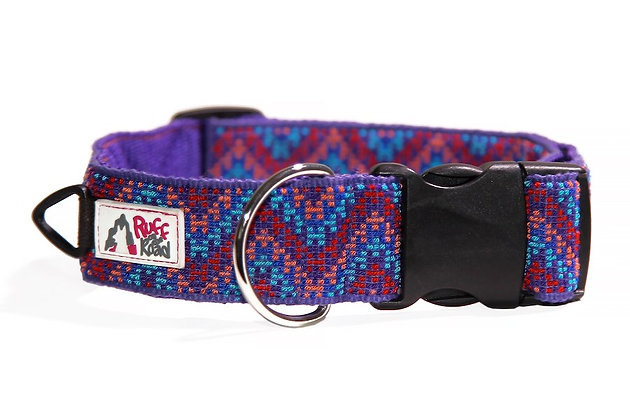 Handmade dog collar from Guatemala in rising chevron patter and rich purple colors
