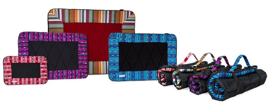 Handmade dog travel bed with handwoven top and waterproof bottom in four brilliant colors shown open and rolled up
