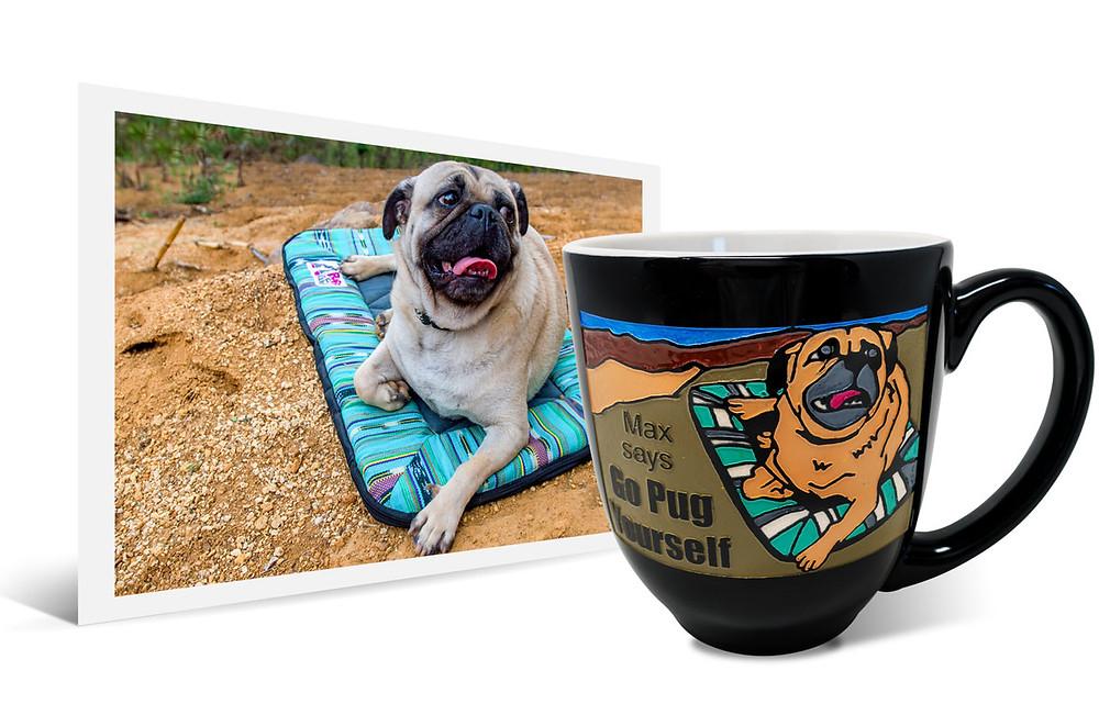 photo of Max the pug beside a back latte mug with the same photo