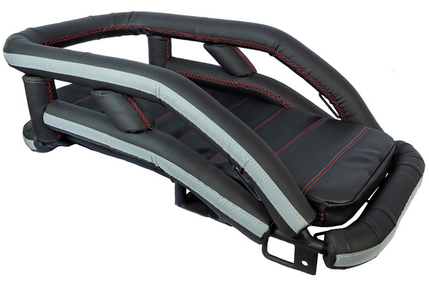 K9 Moto Cockpit motorcycle dog carrier in Black Dimples vinyl with red stitching