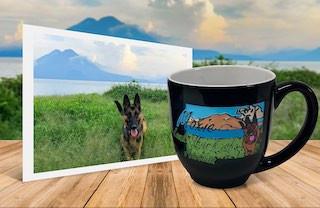German Shepherd runs through tall grass photo beside personalized, engraved, hand-painted latte mug