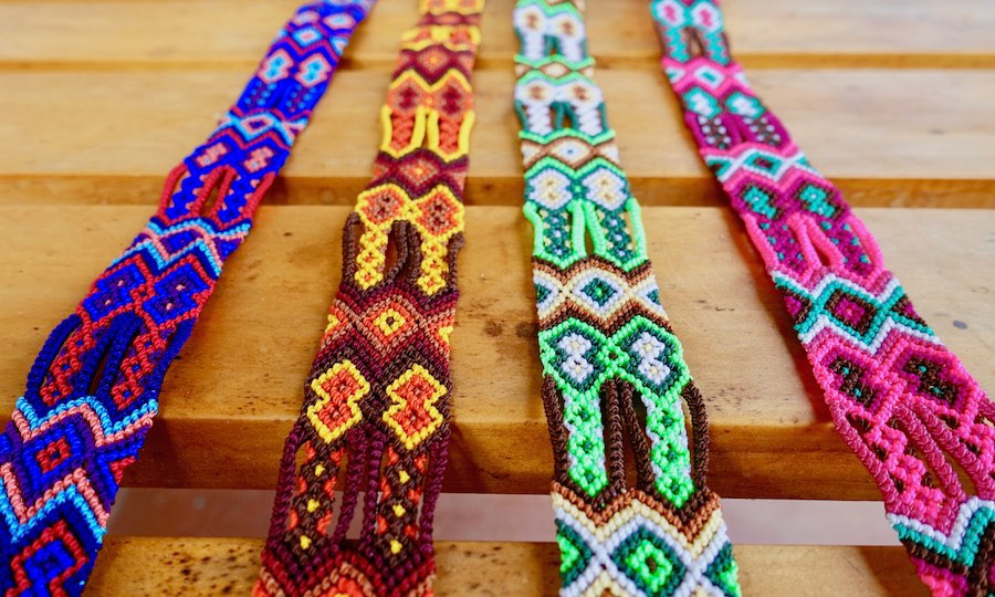 Friendship bracelet macrame ribbons