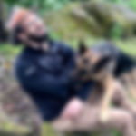 Camping man wrestles with wolf-like German Shepherd who wants to play