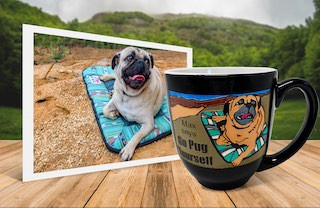 Dog on bed photo beside personalized, engraved, hand-painted coffee mug