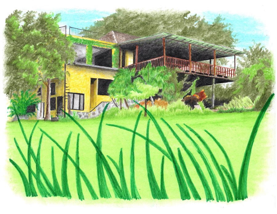 Drawing of hotel with terrace and green landscape