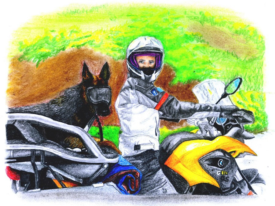 Drawing of woman and German Shepherd dog on BMW motorcycle