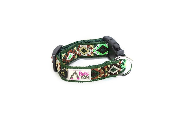 Small, handmade dog collar woven with all the colors of a jungle