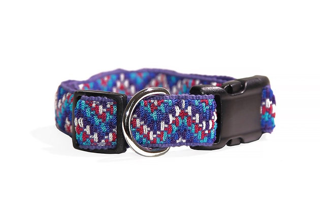 Medium dog collar handwoven in rising chevron patterns of color