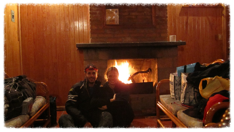 Us in the cabin with a big fire going