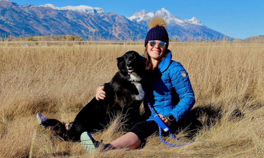 USA Olympic Skier Breezy Johnson with dog and handmade paracord leash