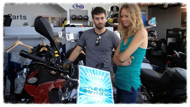 Greg and Jess look over an F700GS