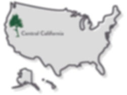 Map of United States with green pine sapling and label stating Central California