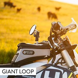 Diablo Pro Tank Bag by Giant Loop on Husqvarna dualsport motorcycle in country setting