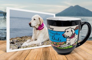 White dog on beach photo beside personalized, engraved, hand-painted coffee mug