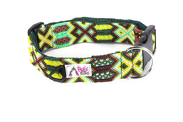 Handmade macrame dog collar in stunning hues of green, yellow, and brown