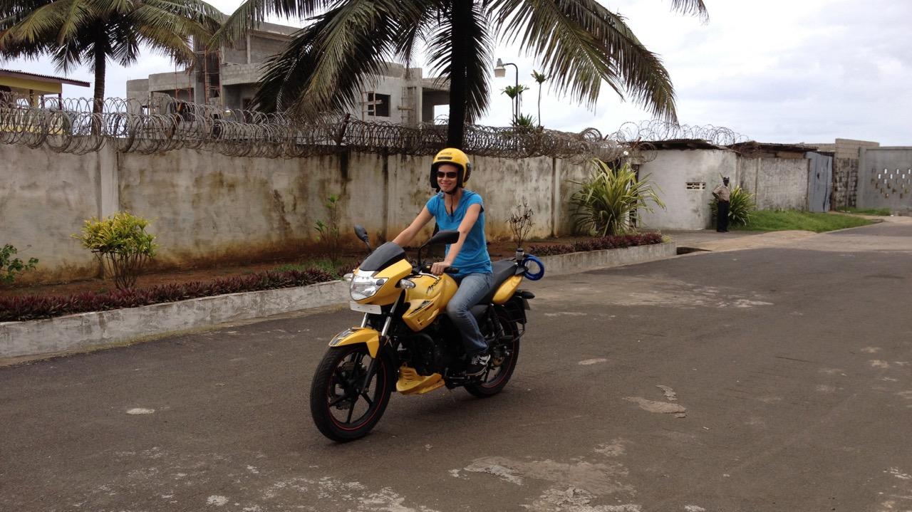 Jess rides happy on training day 2 - Monrovia, Liberia