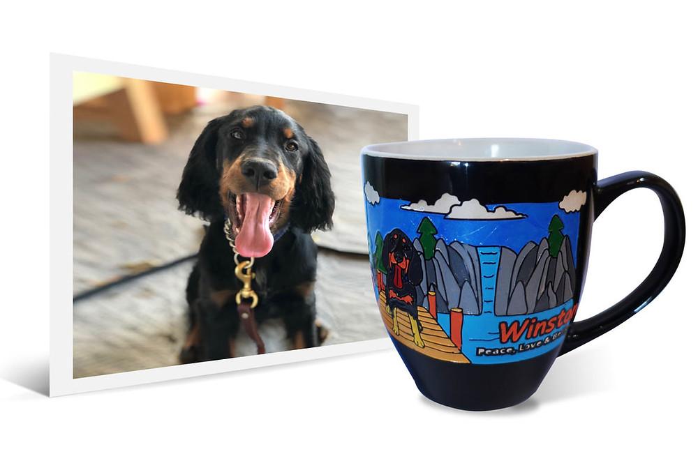 photo of Winston the dog beside a black latte mug with the same image