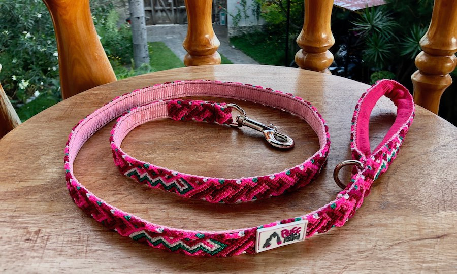 Handmade macrame dog leash with cushioned handle