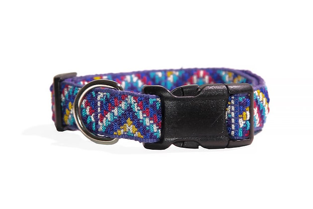 Medium, handmade dog collar with chevron pattern and one yellow line