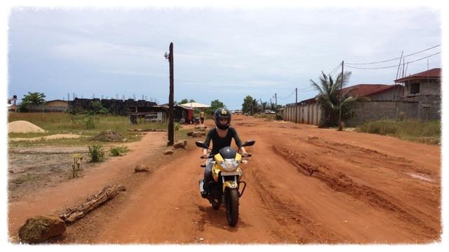 Jess on road to Liberian Renaissance Education Complex (Ma Ellen's School)