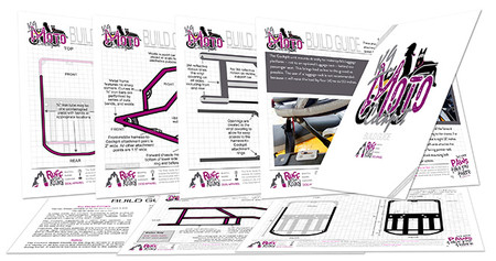 Pages from instruction manual for building a motorcycle dog carrier for large dogs