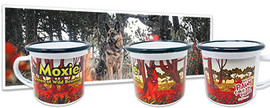 Photo of German Shepherd sits among grass, trees, and flowers and same image printed in art on enamel camping mug