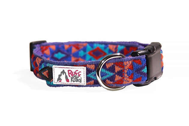 Handmade dog collar in colorful diamond-in-diamond pattern