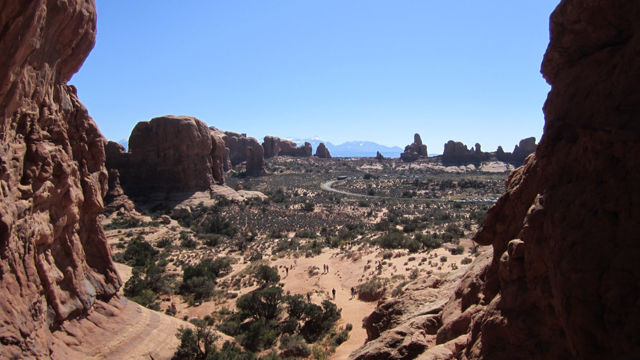 View through Double Arch - Arches National Park, UT, USA